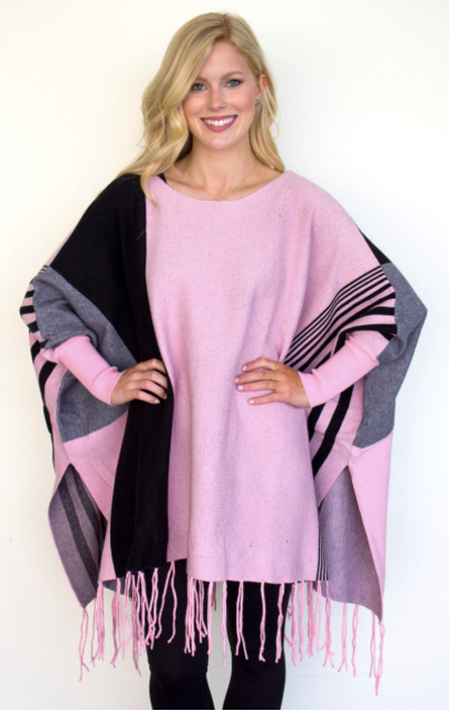 Pink/Black Striped Block Fringe Poncho