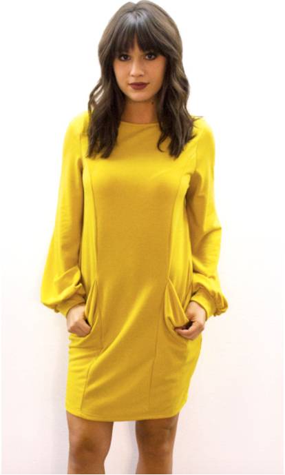 Pocket Sweatshirt Dress Mustard - L'Amour Chic Boutique