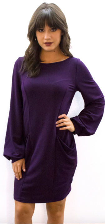 Pocket Sweatshirt Dress Plum - L'Amour Chic Boutique