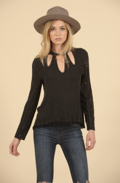 Washed Charcoal Cutout Blouse - L'Amour Chic Boutique