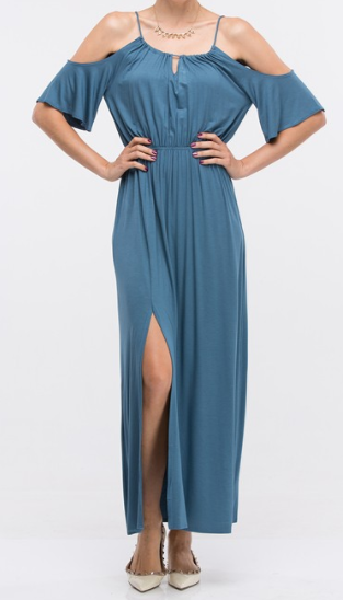 Give Him The Cold Shoulder Maxi Dress, Denim Blue - L'Amour Chic Boutique