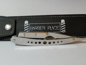 Silver Stainless Steel Barber Place Straight Razor Shavette With Blades