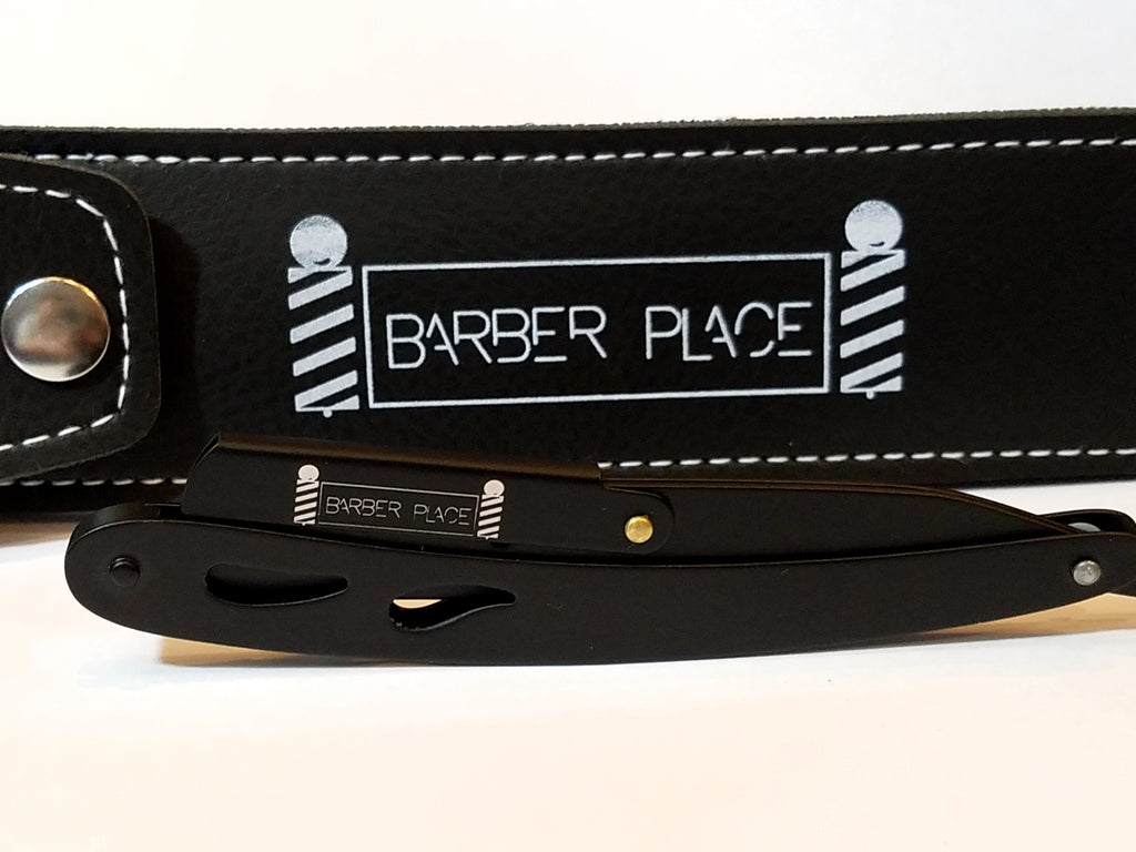 Black Matte Barber Place Straight Razor Shavette With Blades
