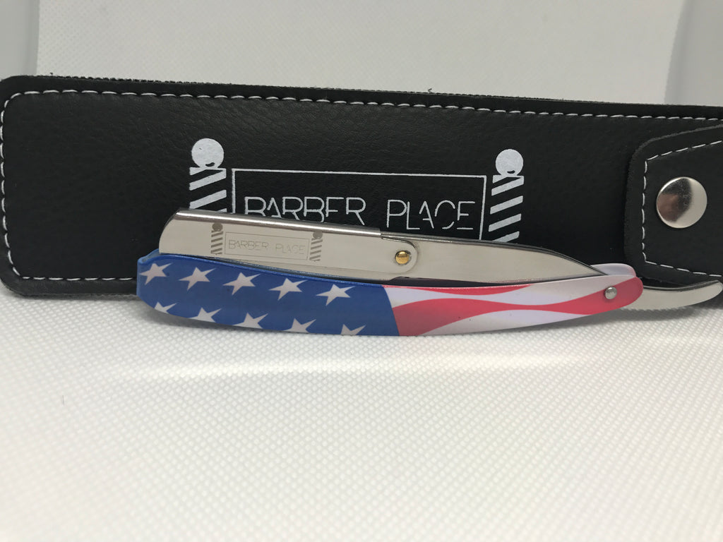 US Flag Limited  Barber Place Straight Razor Shavette With Blades