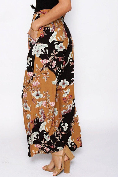 Floral Print High Waist Trousers