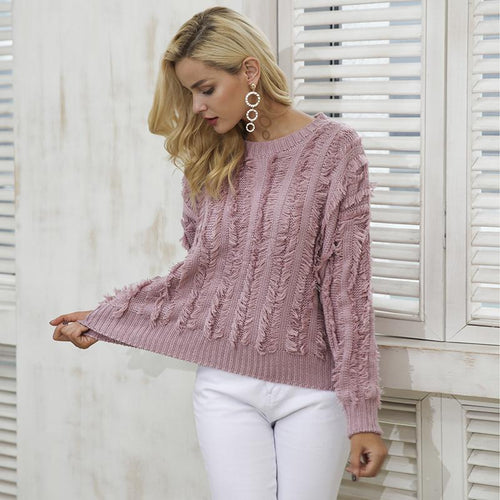 Chunky Knit Fringed Jumper