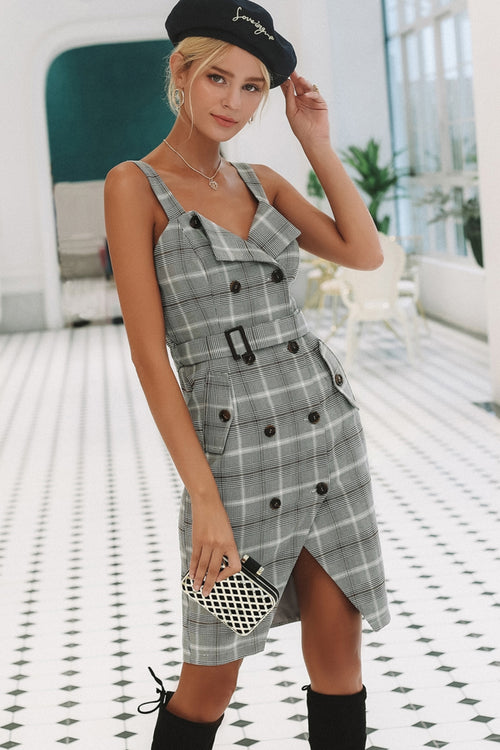 Check Double Breasted Button Front Dress