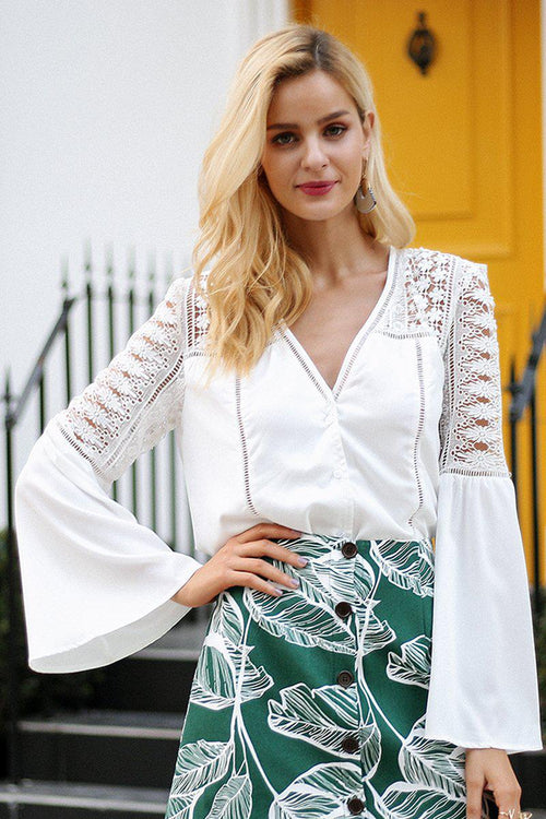 White Chiffon Blouse With Lace Detail