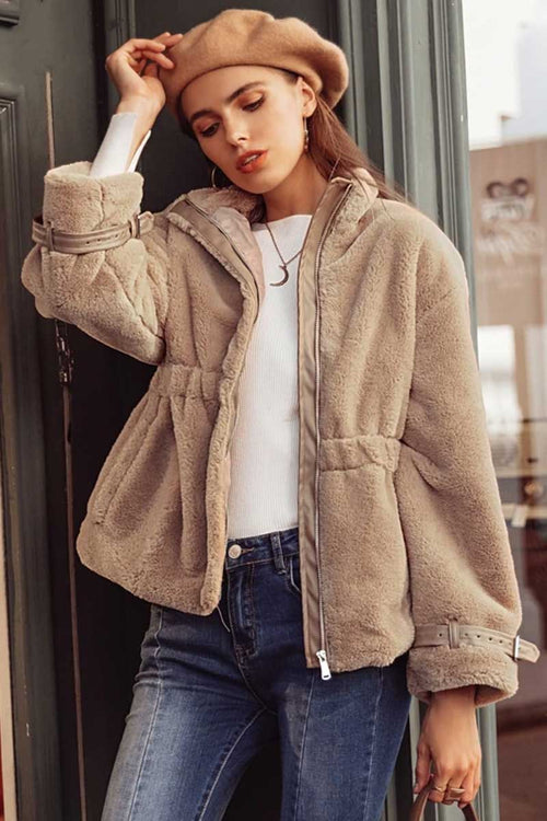 Camel Faux Fur Jacket