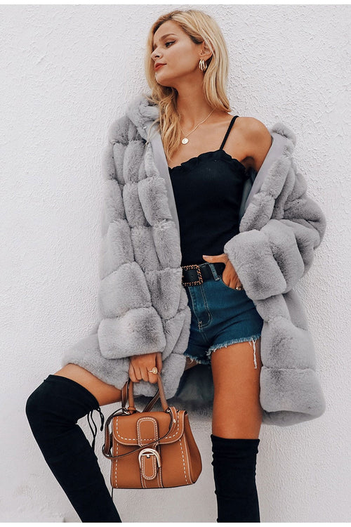 fluffy fake fur coat