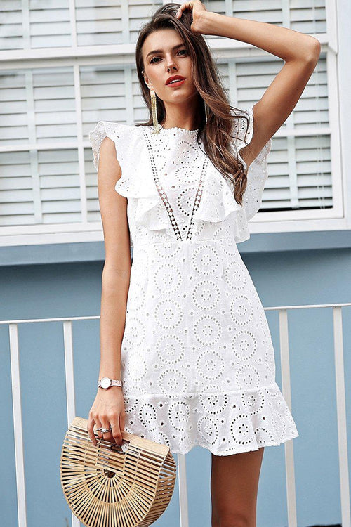 Crochet Ruffle Shift Dress