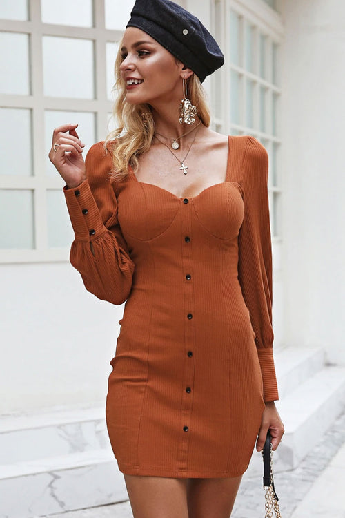 Button Front Sleeve Bodycon Dress