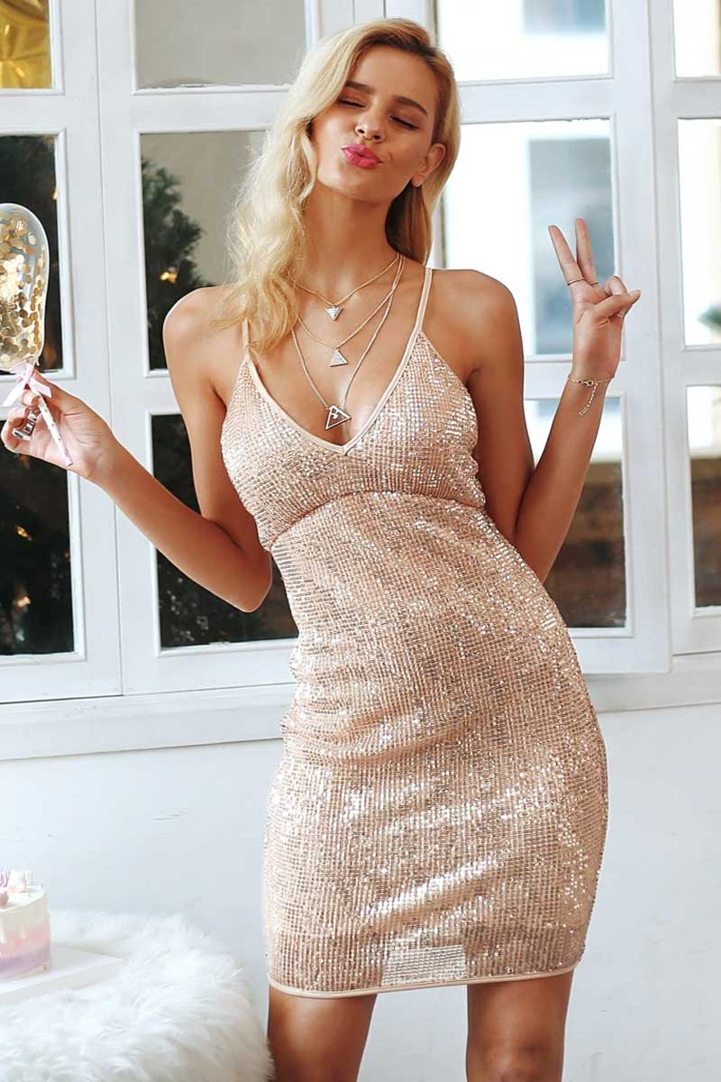 Gold Sequin Dress, Party Dress