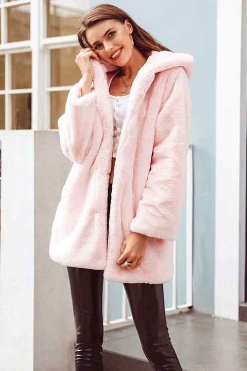 Fluffy Faux Fur Hooded Coat Pink