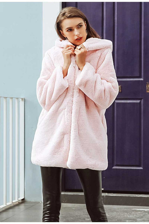Super Fluffy Faux Fur Hooded Coat Pink