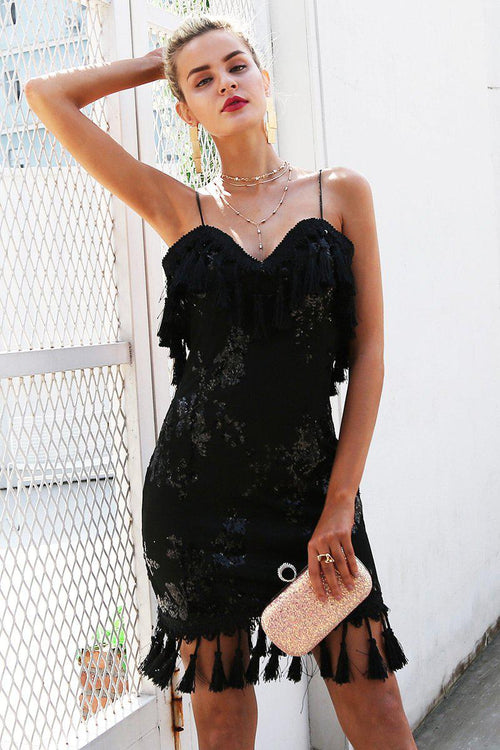 Denise Black Sequin Tassel Dress
