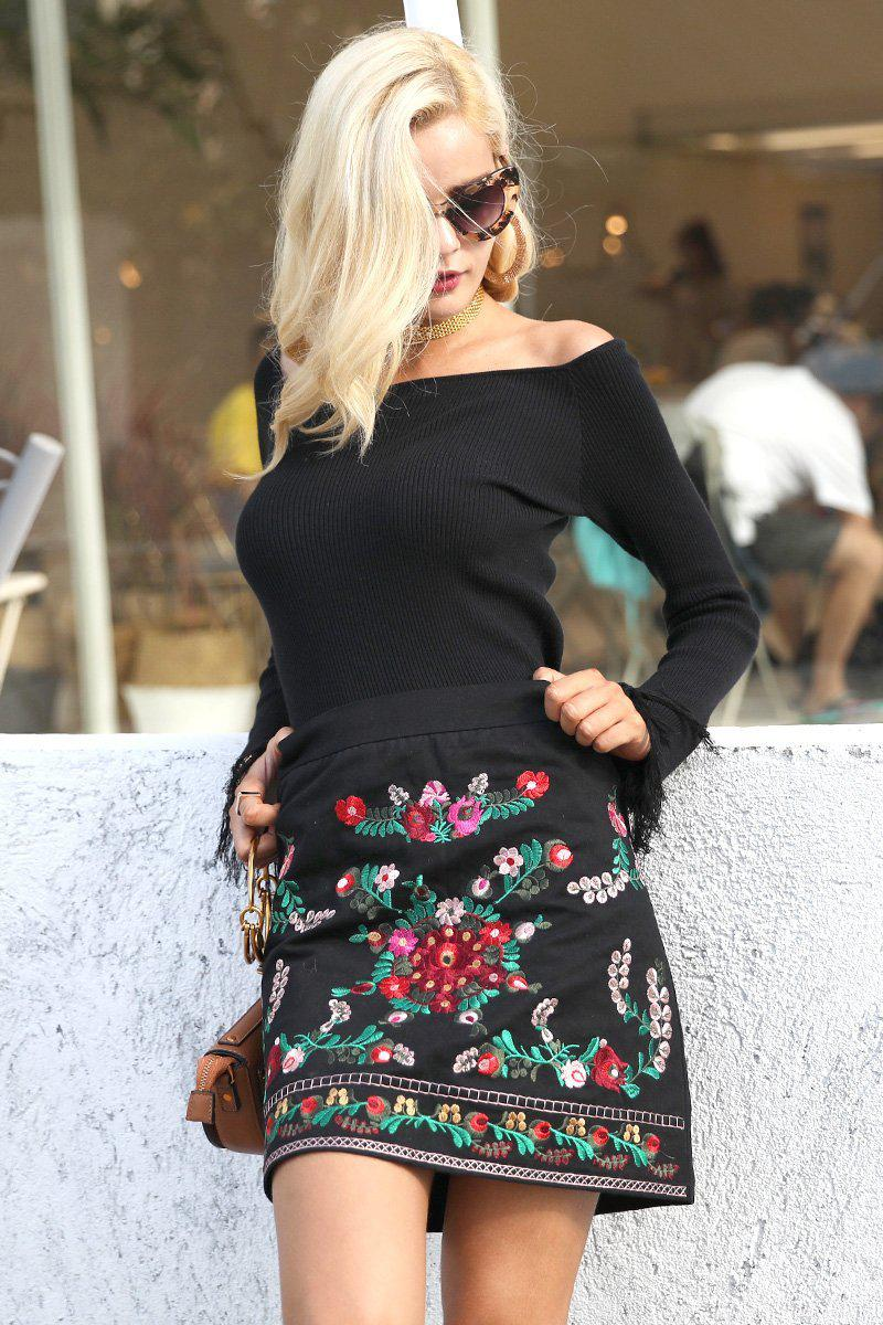 70's Black Floral Embroidery Mini Skirt