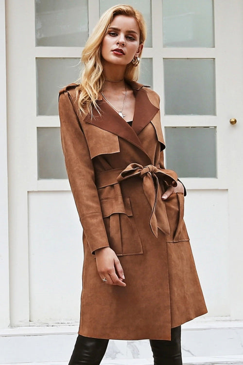 Soft Faux Suede Trench Coat