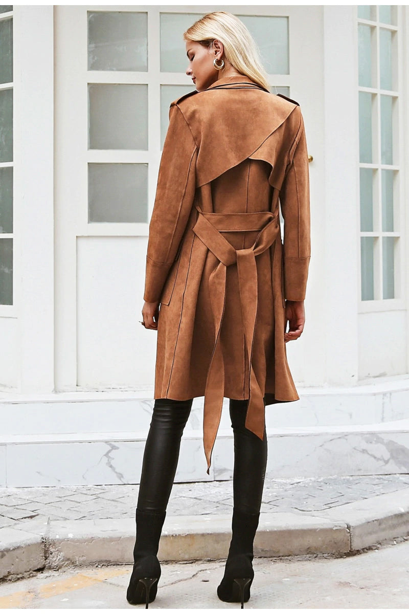 Women's Faux Suede Trench Coat