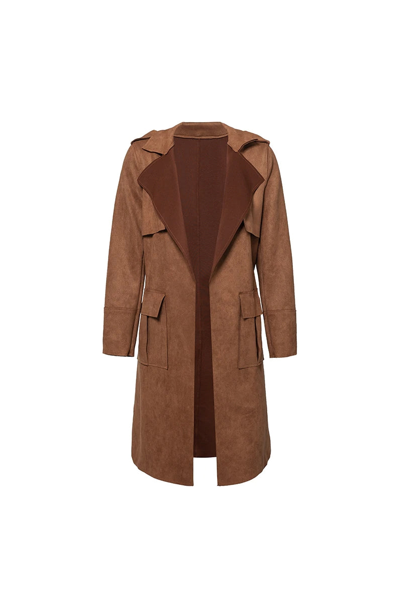 Free Delivery Soft Faux Suede Trench Coat