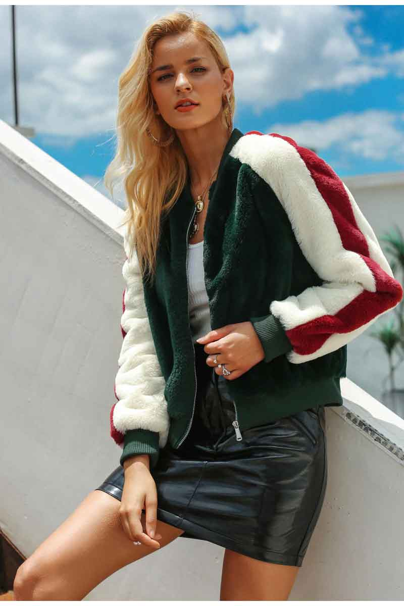 Colour Block Teddy Fur Bomber Jacket