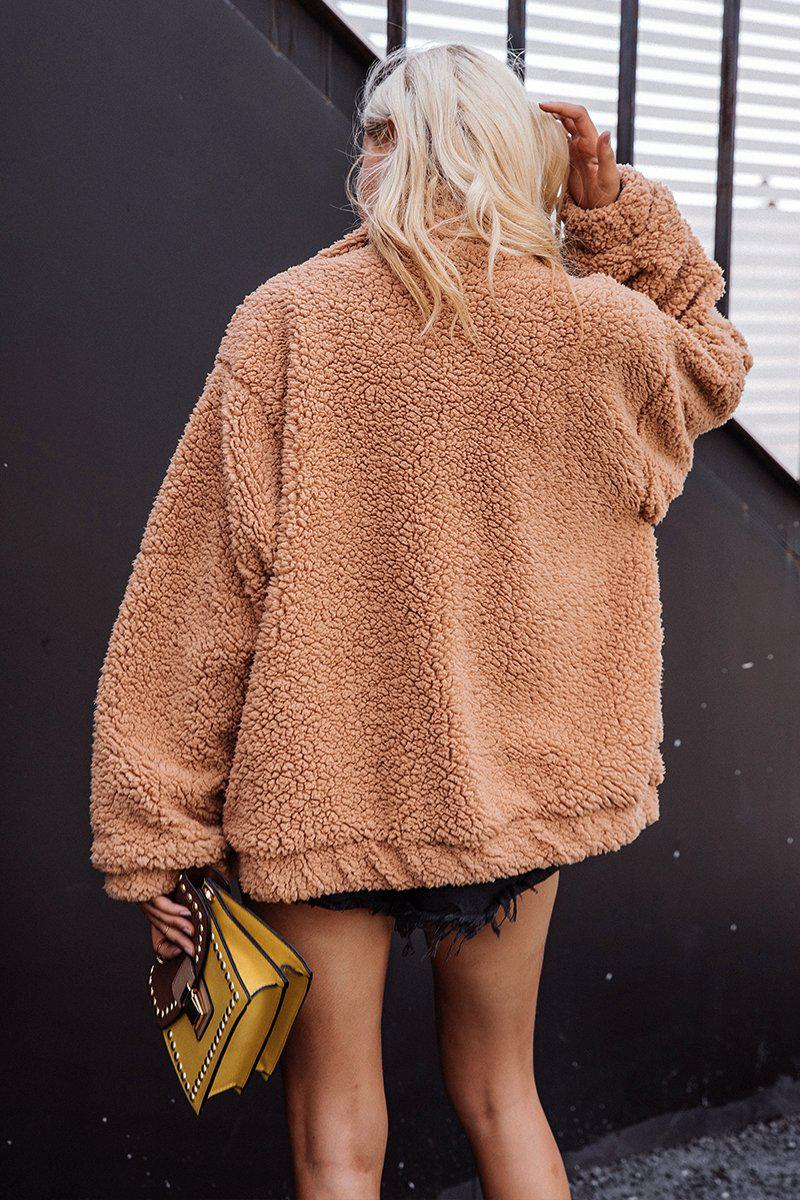 Camel Teddy Oversized Jacket