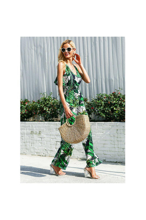 Tropical Print Wide Leg Jumpsuit