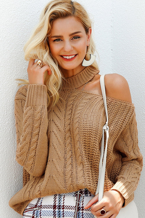 Choker Neck Knit Jumper