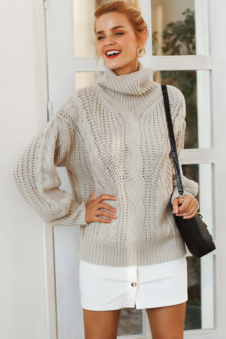 Oversized Roll Neck Pearl Embellished Jumper
