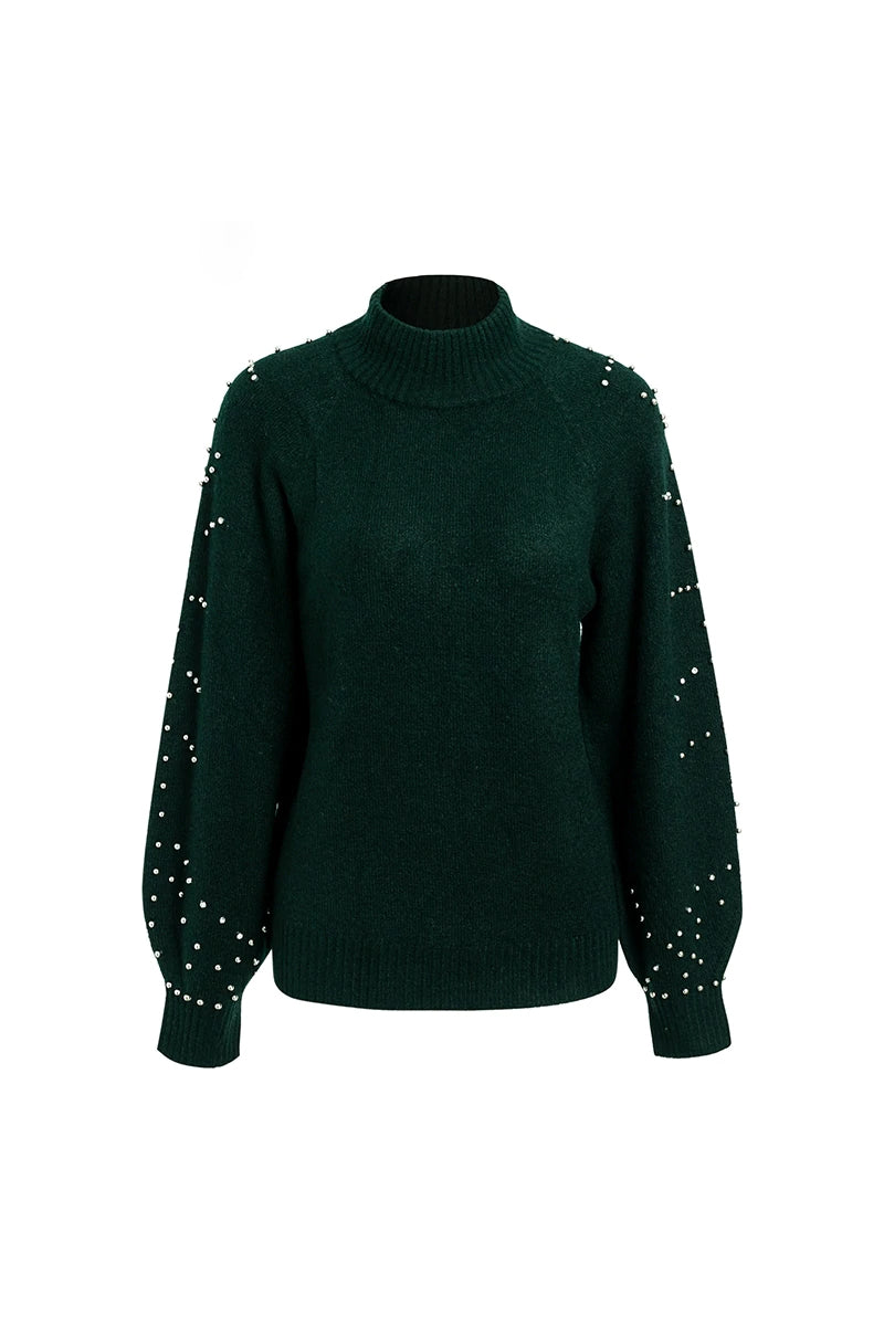 Dark Green Pearl Embellished Jumper
