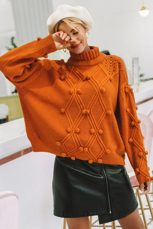 Pom Pom Tan Knit Jumper