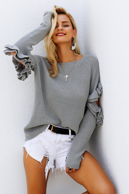 Cut Out Ruffle Sleeve Jumper