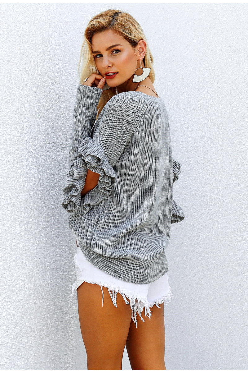 Grey Cut Out Ruffle Sleeve Jumper