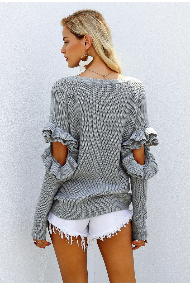 Cut Out Ruffle Sleeve Jumper in Grey Colour