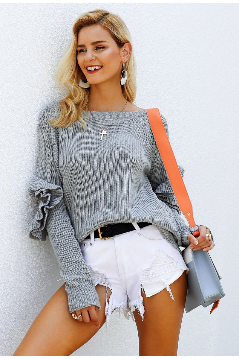 Cut Out Ruffle Sleeve Jumper with white shorts