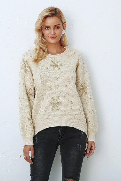 Gold Star Print Christmas Jumper