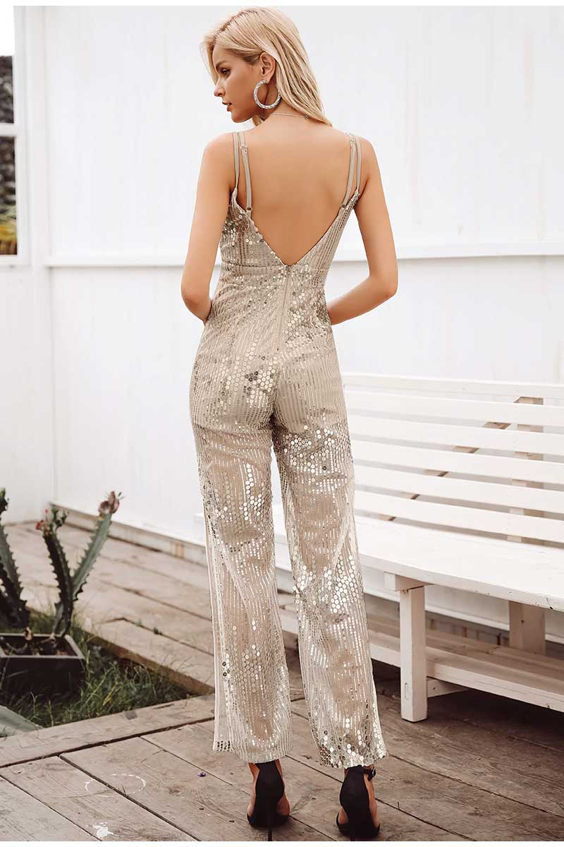 Gold Sequin Split Leg Jumpsuit