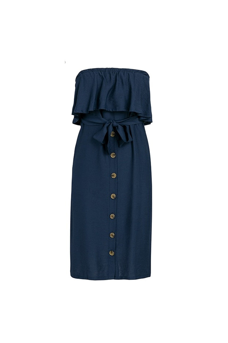 Frilled Bardot Button Front Midi Dress