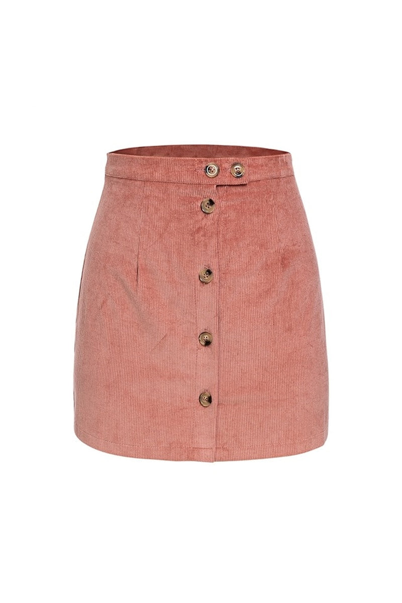 Pink Cord Mini Skirt With Button Front