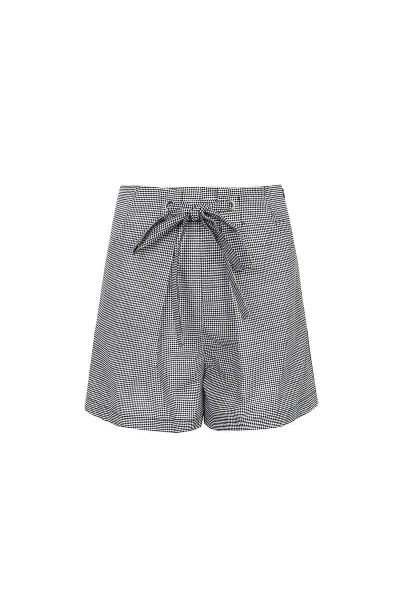 Checked Tie Waist Tailored Shorts