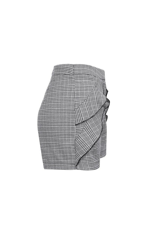 High Waist Checked Ruffle Short