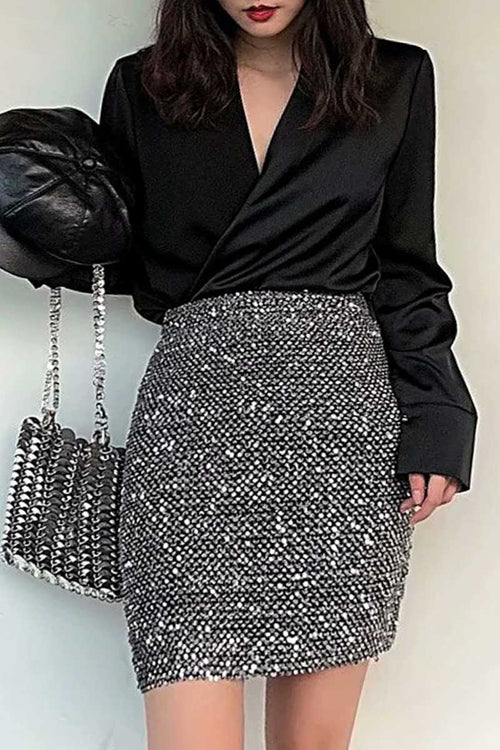sequin skirt black uk