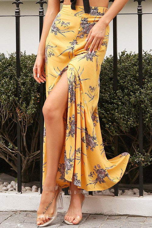 Floral Button Down Maxi Skirt