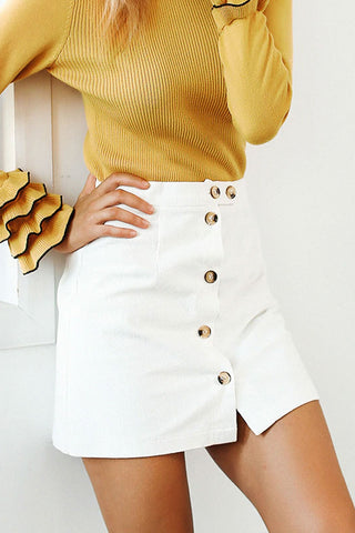 Asymmetric Wrap Skirt With Front Button