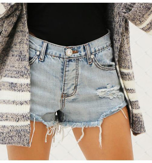 Blue Vintage Ripped Fringe Shorts