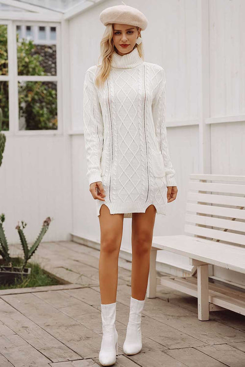 White Cable Detail Knitted Dress