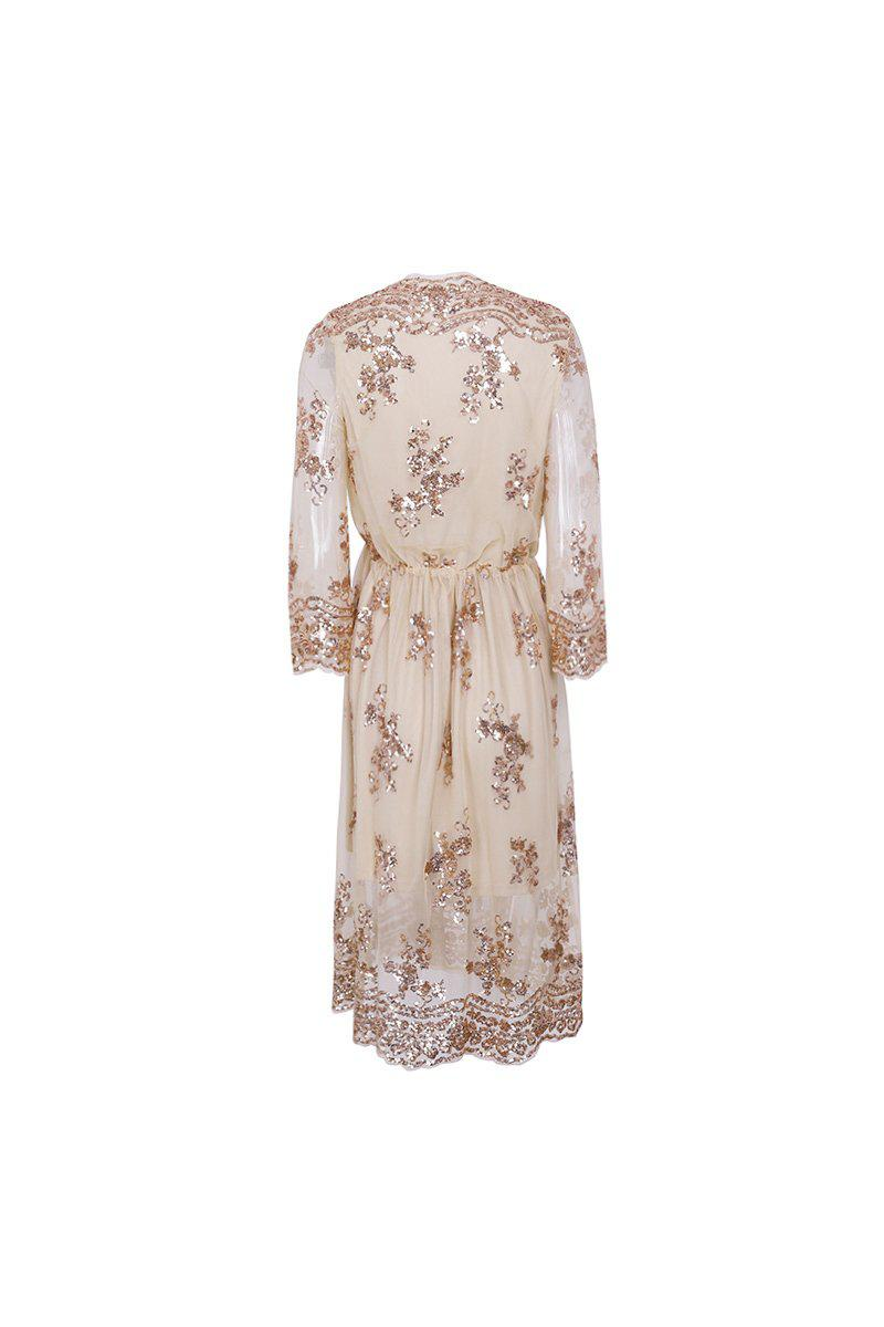 Rose Gold Embroidery Sleeve Dress