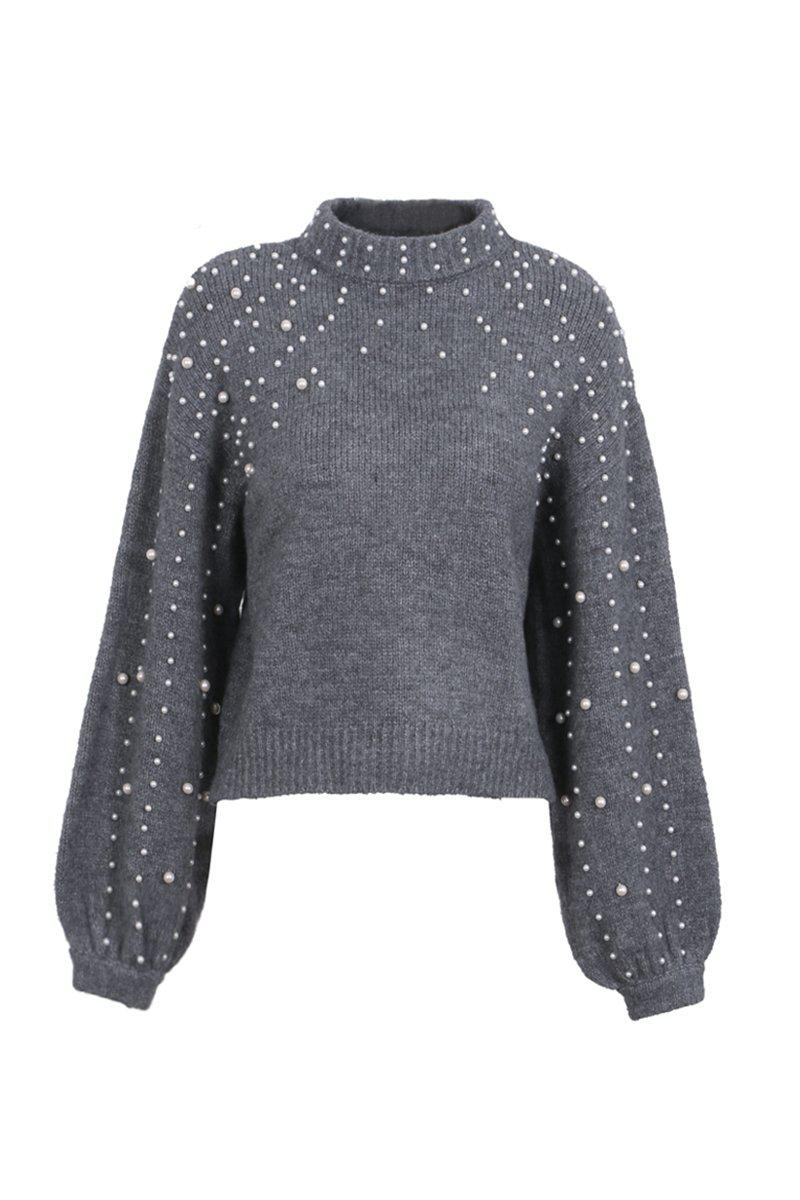 Pearls Stand Collar Knit Jumper