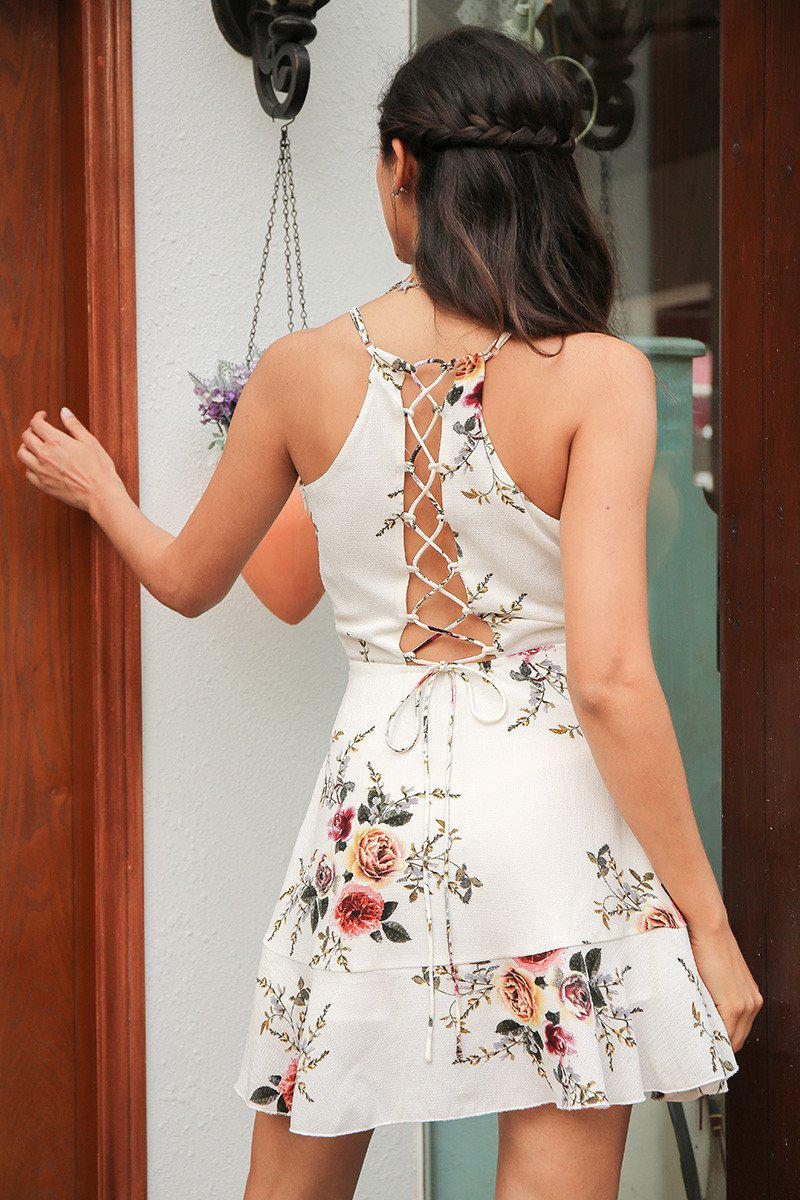 Floral Wrap Strappy Back Dress