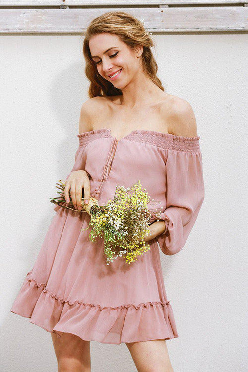 Louise Chiffon Off Shoulder Ruffle Dress
